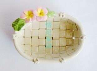 泰国纯手工工艺品/泰国鸡蛋花肥皂盒/陶瓷椭圆肥皂盒,