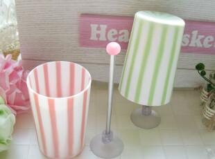 「韩居屋」甜美条纹漱口杯+杯架 韩国进口洗漱杯套件.牙刷杯dp066,