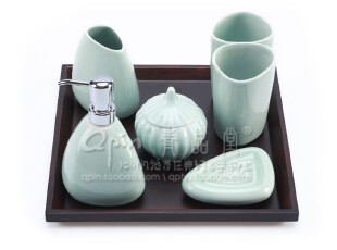 龙泉青瓷 青品堂 陶瓷卫浴室套件用品 七件套 洗漱用具 创意实用,