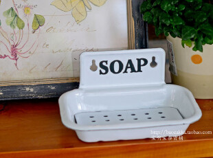 BAO ZAKKA 杂货 日单 白色 SOAP 双层 可壁挂 搪瓷肥皂盒,