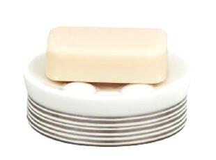 【欧洲时尚卫浴】Spirella陶瓷瑞士瓷银条纹圆形香皂盒,