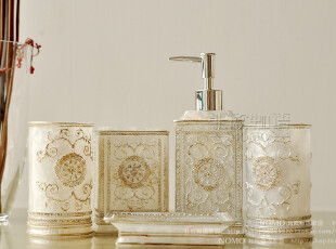 7折特惠 欧式家居洗漱用具用品5件套 树脂卫浴五件套装-奢华雕花,