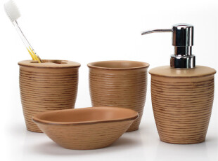 瑞士spirella 简约土黄色合成树脂木纹浴室卫浴四件套(包邮),