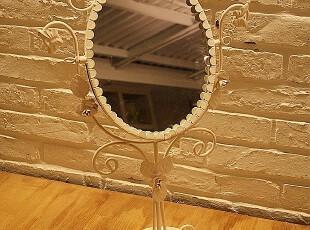 冲皇冠白色铁艺玫瑰新款座式化妆镜梳妆镜1037,