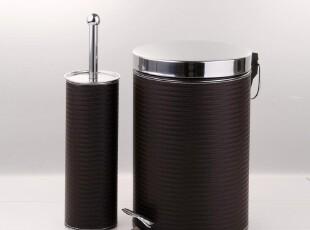 棕色编织皮不锈钢垃圾桶脚踏 马桶刷套装 家用欧式宜家田园复古,马桶配饰,