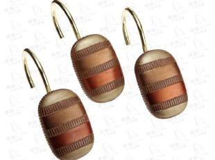 2012-经典欧式复古外贸浴帘挂钩-椭圆古铜不锈钢+树脂 12个/套,