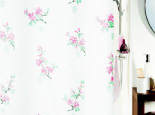 瑞士品牌 SPIRELLA Nalya水墨国画粉花 加厚防水防霉涤纶布浴帘,