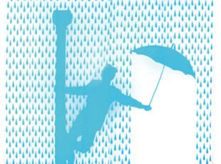 欧洲进口 创意浴帘 雨中畅歌 雨中情 图案,