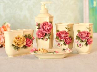 卫浴五件套包邮欧式 浴室用品套件牡丹洗漱套装结婚礼物,