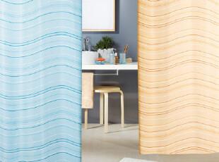 【瑞士品牌】SPRIELLA 丝普瑞 Thalas水波纹蓝色 涤纶布防水浴帘,