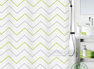 瑞士品牌SPIRELLA 丝普瑞「Ziggy 曲彩」时尚绿色 防水涤纶布浴帘,