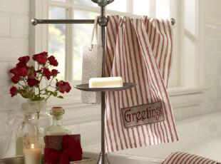 美国全进口-美式铜制镀银桌面式毛巾肥皂架|浴室置物架 结婚礼物,