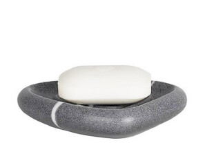 【欧洲时尚卫浴】spirella亮面合成树脂石头深灰白线香皂盒,