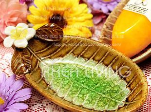 泰国原装进口 鸡蛋花(赤素馨)花裂釉手工陶瓷工艺皂盘肥皂盒,