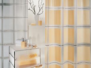 欧洲品牌 SPIRELLA 时尚简约Scott黄底方块格子 环保PEVA防水浴帘,