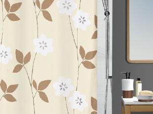 瑞士SPIRELLA费莉西亚米色底黄叶子涤纶布防水浴室帘,
