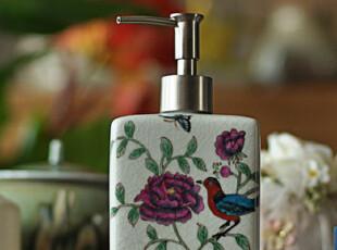 [东游记.粉彩瓷]手绘描花喜鹊与牡丹裂纹瓷乳液器/洗手液瓶,
