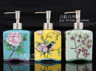 外贸 纯手工绘制 新中式 直身陶瓷乳液器/洗手液瓶 礼品 三款选,