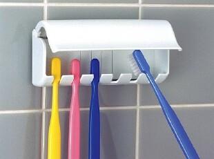 日本进口LEC 6位牙刷架 六孔牙刷收纳架 整理架 粘贴掀盖式B-332,浴室储物,