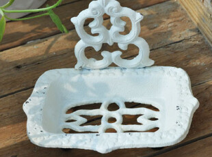D美式白色做旧金属皂盒/复古铸铁香皂碟/家居软装/样板房设计款3,