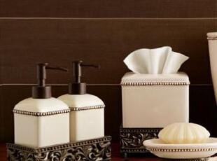 简单的奢华 欧式经典古铜色铸铝象牙色陶瓷卫浴套件摆设,