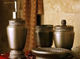罗马浮雕皇朝古铜金树脂浴室四件套装 卫浴用品 现代奢华漱口杯子,
