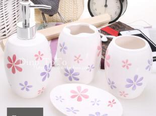 简约可爱小花陶瓷卫浴四件洗漱套装套件浴室用品组 厂家现货实拍,