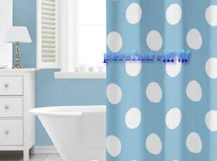 pershare卫浴外贸 加厚 防水  涤纶浴帘  蓝白圆点(送挂钩),