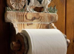 欧美乡村田园手工雕刻做旧实木卫浴用具纸巾架/卫生间奶牛卷纸架,