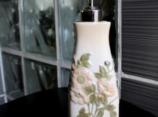外贸陶瓷乳液瓶皂液器 夏日鲜花浮雕绝美冰裂纹洗手液瓶创意单品,
