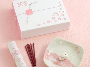 【售完缺货!】日本进口香彩堂樱花兔线香香立礼盒套装(白盒),