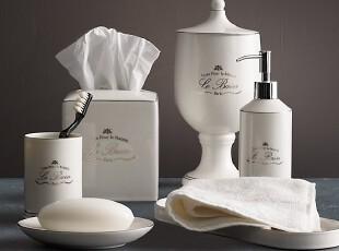 简单的奢华 新古典巴黎白色陶瓷银边卫浴组件套件   限时9折,