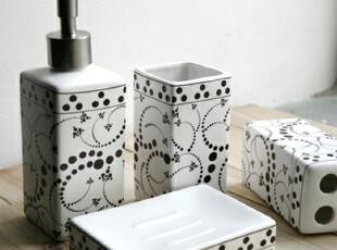zakka 卫浴套件/卫浴四件套/陶瓷卫浴套装-咖啡色小点&黑色花边,