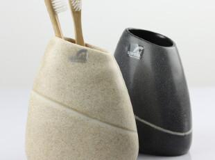 瑞士品牌 SPIRELLA Etna石头纹 创意卫浴洗漱牙刷杯牙刷架座 树脂,