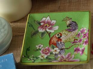 [东游记.手做瓷]手绘描花彩色鹦鹉裂纹瓷四方皂盘/盒 小果盘,