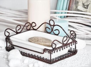 D美式复古陶瓷配铸铁底座肥皂盒|做旧香皂盒|肥皂盘|皂托皂碟创意,