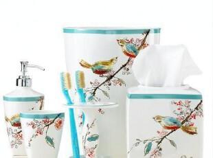 【纽约下城公园】小鸟迎春水彩画浴室六件套(可单买),