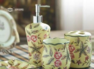 欧美田园风格 瓦卡莲娜 彩绘陶瓷卫浴四件套,