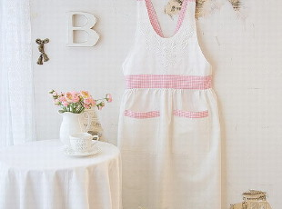【韩国进口家居】甜美清爽粉色主妇最爱花朵布艺围裙 n0236,