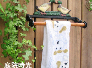 【庭院时光】花园杂货之欧式铸铁情侣鸭毛巾架/厨房纸巾架/壁架,毛巾架,