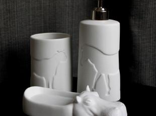 陶瓷卫浴用品3件套 纯白无釉 动物浮雕 个性浴室套件 质朴可爱,