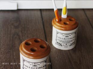 INCAFE |法文陶瓷牙刷筒 日本牙刷筒 木盖子 陶 复古 ZAKKA 杂货,