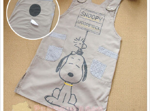 出口日本可爱卡通外贸围裙 原单家居服 史努比日单围裙,