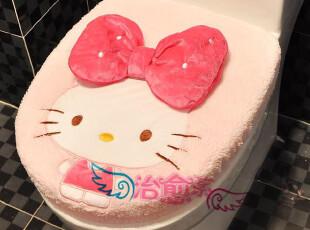 日本 Hello Kitty 可爱蝴蝶结马桶套 坐便 垫坐圈 厕所卫浴两件套,马桶配饰,