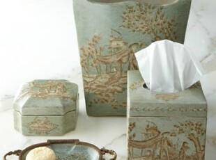 【纽约下城公园】手工古风亚麻绘色青瓷陶瓷卫浴组件套件 现货,