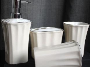 外贸陶瓷洗漱用品 卫浴套装三件套件 乳液瓶杯子浴室用品,