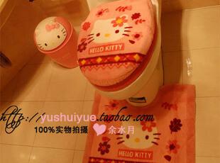 新款Hello Kitty爱心马桶套粉色三件套地垫马桶垫+马桶圈 坐便垫,马桶配饰,