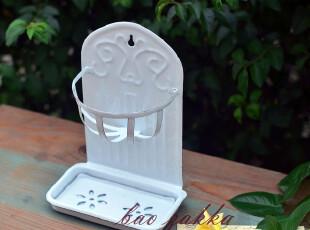 Bao ZAKKA 日单 复古 浮雕纹 搪瓷 可壁挂 滤水架 双层肥皂盒,