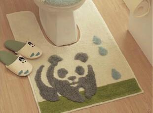ROBO超细纤维 可爱大熊猫马桶两件套 U型垫 马桶盖套 防滑垫,马桶配饰,