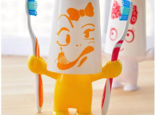 默默爱♥创意家居 可爱卡通 爱情大力士 牙刷架 牙膏架套装,